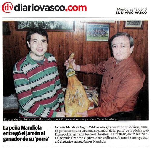 La Peña Mandiola entrega premio